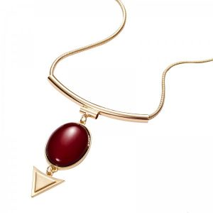 Red Ruby Stone Arrow Snake Chain Necklace
