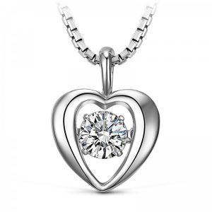 S925 Sterling Silver 1/2ct Circle Dancing Diamond Necklace